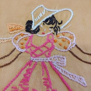 VINTAGE HAND Embroidery Running at Girl Lady